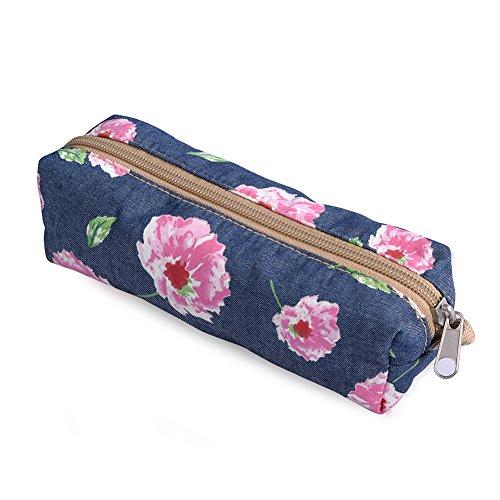 Floral Pencil Case Cosmetic Makeup Bag Zipper Pouch Purse