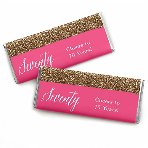 Chic 70th Birthday - Pink and Gold - Birthday Party Favors Candy Bar Wrappers - Set of -