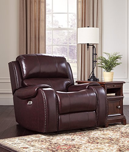 Cheap Gilmanton Contemporary Burgundy Color Leather Power Rocker Recliner/Adjust Headrest