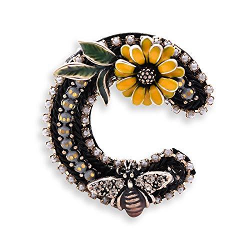 Fenni Vintage Enamel Crystal Daisy Honey Bee Garland Floral Hoop Flower Brooch Pin Corsage Breastpin (Yellow) ()