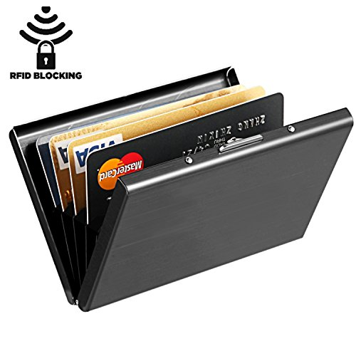 Maxgear Stainless Steel RFID Credit Card Holder for Women or Men RFID Credit Card Wallet Protector, RFID Metal Credit Card Case for Holding Credit Cards, ID cards Black