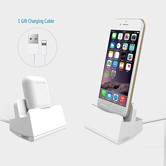 size 40 67bf3 0c17e Sincetop Charging Stand Compatible Airpods Charging Dock & iPhone Docking  Station - Poratble Desktop Charging Station for Apple Airpods with Case and  ...