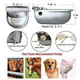 HiCamer Automatic Cow Drinking Water Bowl Dispenser 304 Stainless Steel Farm Livestock Animals Waterer for Pigs Horse Cattle Goat Sheep Dog with 2 Float Ball Valves