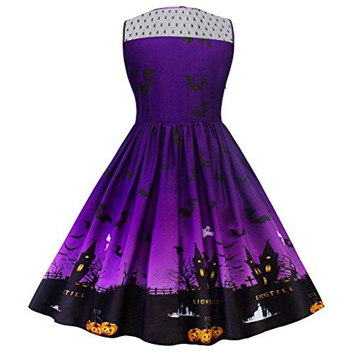 Midi 3d Extra Ronda Sleevesless Swing Collar Vestidos Gran Talla Moda Empalme Mujer Fiesta Impreso Purple Para Wangmei De qIOt0vt