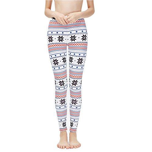 Ensasa Womens Autumn Winter Snowflake Graphic Printed Stretchy Leggings