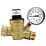 Twinkle Star RV Water Pressure Regulator Valve with Gauge and Inlet Screened Filter for Camper Travel Trailer