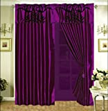 Grand Linen 3-Layer Modern Black Purple Floral Flock Satin Curtain Set with attached valance and sheer back For Sale
