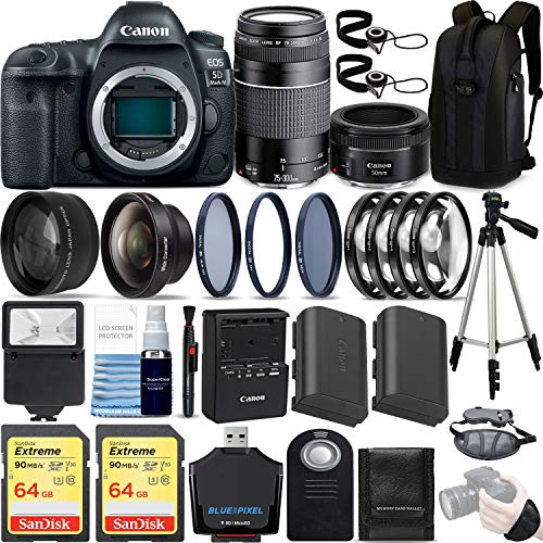 Canon EOS 5D Mark IV 30.4 MP DSLR Full Frame Camera Body with EF 50mm F1.8 STM Lens + EF 75-300mm F4-5.6 III Lens Kit Ultimate Travel Bundle