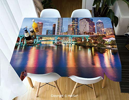 Printed Table Cloth, Rectangle Table Cover in Washable Polyester for Parties, Holiday Dinner, Wedding & More,City,Hillsborough River Tampa Florida USA Downtown,53