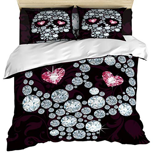 Luxury 4 Piece Bedding Set California King, Halloween Diamond Skull Skelete Duvet/Comforter/Quilt Cover Set with Bed Sheet Pillow Shams for Kids/Teens/Adults/School