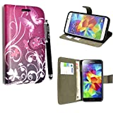 Samsung Galaxy S5 / S5 Neo Case, Kamal Star® Butterfly Purple Book Premium PU Leather Magnetic Case Cover + Stylus