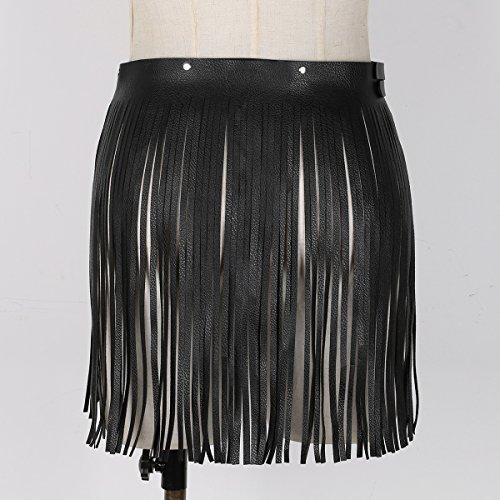Jupe Clubwear Noir Alvivi hop Taille Faux Courte Femme Ceinture Robe Skirt Costume de Haute Hip Cuir Fourche Dancewear Franges de Jupe Style Sexy Danse Glands Rglable FC8FrWwqg
