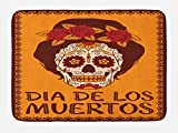 Lunarable Skull Bath Mat, Frame with Mexican Skull Girl Hairstyle Carnival Smile Ornate Party Dance, Plush Bathroom Decor Mat with Non Slip Backing, 29.5 W X 17.5 W Inches, Maroon Dark Orange