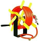 "Amflo 501HR-RET Manual Hose Reel With 250 PSI 3/8"" x 50'  PVC Orange Air Hose"