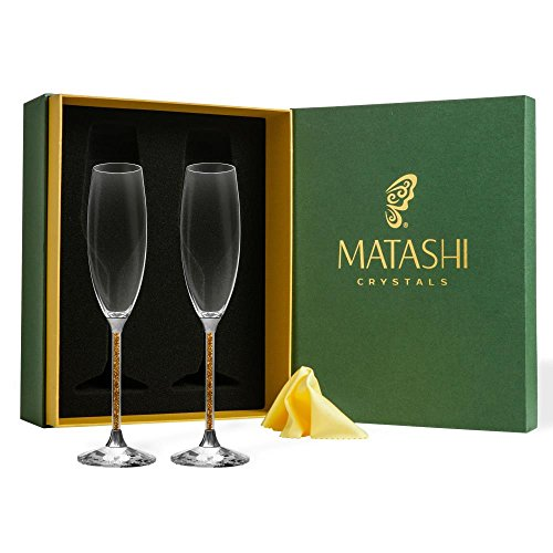 Romantic New Year Champagne - Matashi 8 oz. Champagne Glasses Set - Lead Free Titanium Crystal Sparkling Wine Glass, Elegant Fluted Crystal Filled Glassware - Gift for Thanksgiving, Christmas, New Year (Gold)