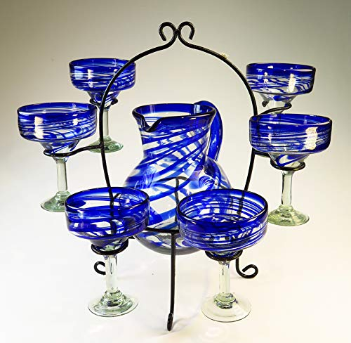 (Mexican Margarita Glasses Blue Swirl, Pitcher set with display rack, Hand Blown, set of 6 with pitcher)