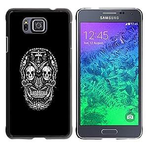 ROKK CASES / Samsung GALAXY ALPHA G850 / DARK GOTH SUGAR SKULL / Delgado Negro Plástico caso cubierta Shell Armor Funda Case Cover