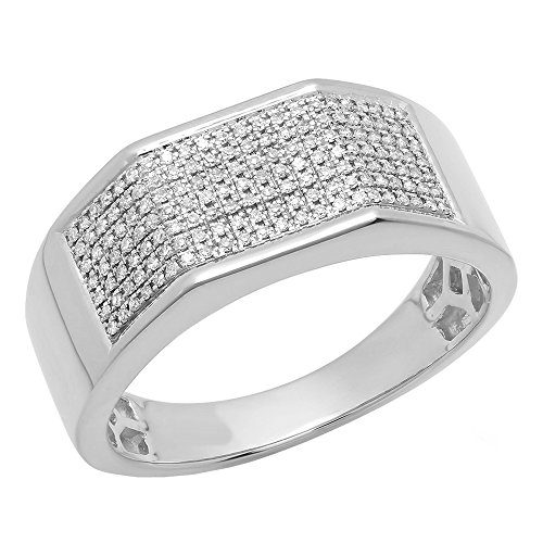 0.24 Carat (ctw) 10K White Gold Round White Diamond Men's Hip Hop Wedding Band 1/4 CT (Size 9) by DazzlingRock Collection