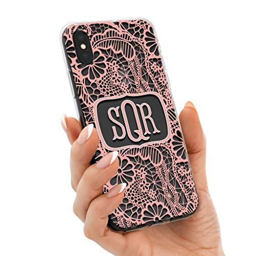 Clear iPhone Case Monogram Cell Phone Cover for Apple XS Max XR X 10S 10R 10 8 Plus 7 6s 6 SE 5s 5 Transparent Rubber TPU with Charming Lace Print Design ()