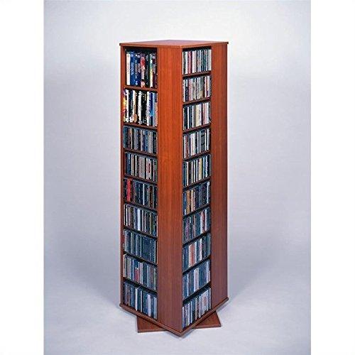 Leslie Dame CD-1040CHY Revolving CD / DVD Storage Tower in Light Cherry