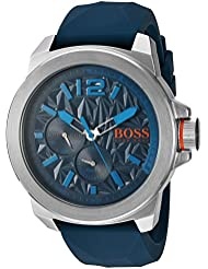 BOSS Orange Mens Quartz Stainless Steel and Silicone Watch, Color:Blue (Model: 1513376)