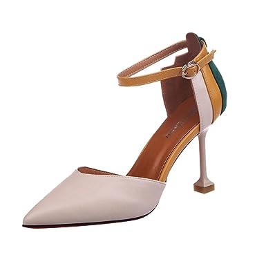 Sandalen High-heeled Pantoffeln Slip Mode (Beige/Schwarz/Braun) stilvoll (Farbe : Schwarz, größe : 37)