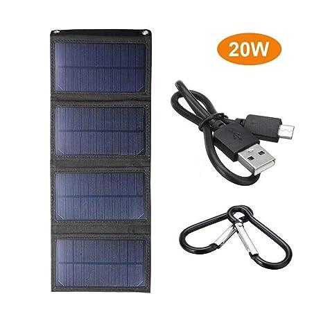 Cargador Solar,Cargador De Batería Para Teléfono Móvil USB,Cargador De Panel Solar Para Exteriores Con Panel Solar Plegable Para Teléfono Inteligente, ...