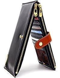 Mujer Piel Auténtica portafolios RFID bloqueo titular de la tarjeta de crédito con cierre cartera Teléfono Celular...