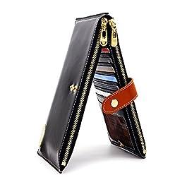 ANDOILT Women's Genuine Leather Wallet RFID Blocking Credit Card Holder Zipper Purse Cell Phone Handbag black