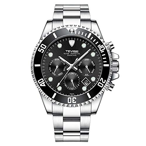 TEVISE Fashion Mens Watches Luxury Date Steel Band Mechanical Business Analog Wristwatch Waterproof Automatic Watch for Men