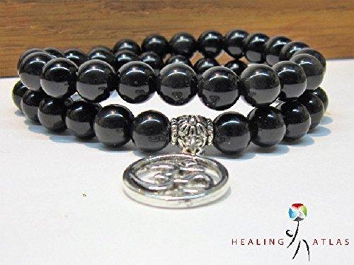 Black Obsidian Double Wrap Mala 45 Bead Agesta Healing Code Bracelet Black Obsidian Wrap Bracelet Obsidian Chakra Meditation Mala Bracelet