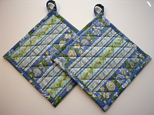 Handmade Quilted Pot Holders, Hot Pads, Trivets, Blue Floral Print, With Hanging Loops, Terry Filled, Set of 2, 7-1/2