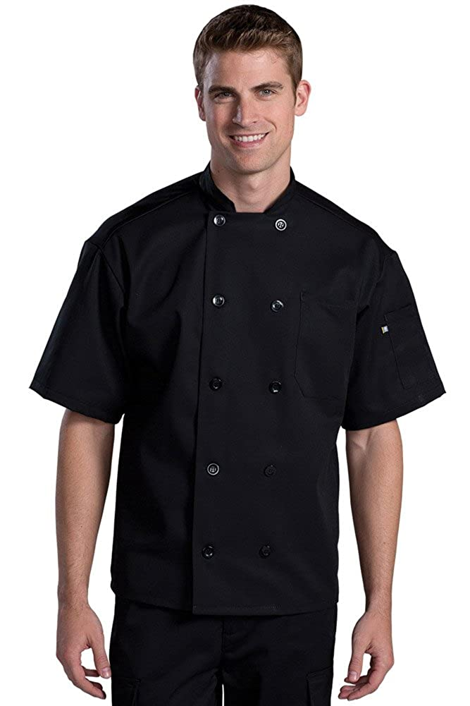 Edwards Ten Button Chef Coat With Back Mesh, BLACK