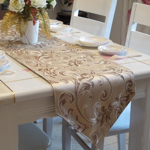 Diaidi Gold Sequin Table Runner Jacquard Short Table