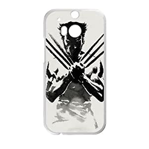 HTC One M8 Cell Phone Case White Wolverine Pewr