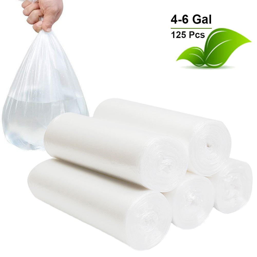 Small Trash Bags 4 Gallon Garbage Bags Waste Basket Bin Liners Bags For Bathroom, Kitchen, Office, Home Bedroom,Car- Clear White (125 Count)