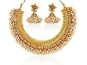 Crunchy Fashion Traditional Indian Jewelry Copper Necklace with Earrings Jewelry Set for Women