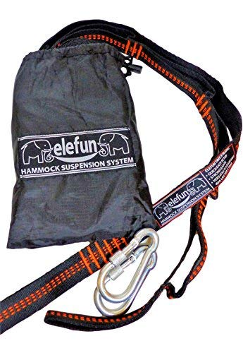 elefun Hammock Tree Safe Straps Heavy Duty Capacity Hammock Straps, for Dual Hammock Chair, Swing, Hanging Tents and Bed, Couples Camping Hammock Straps, Black/Orange Extenders for Extreme Hangs