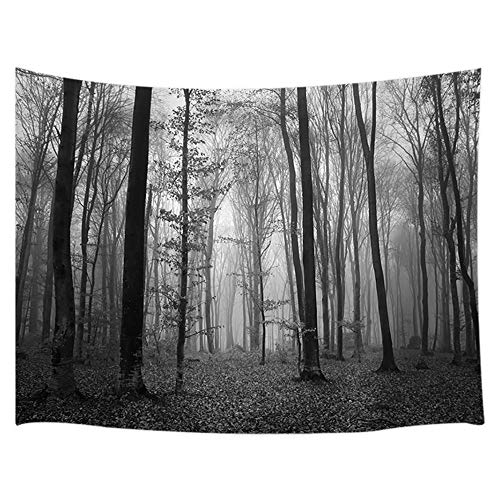 JAWO Forest Tapestry, Horror Haunted Forest with Thick Fog Wall Tapestry, Wall Art Hanging for Bedroom Living Room Dorm 71X60Inches