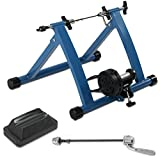 Akonza Indoor Bicycle Bike Trainer Exerciser Stationary Machine Magnetic 7-Resistance Work Out, Blue For Sale