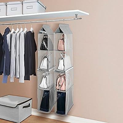 4 Shelf Non-Woven Detachable Closet Bags Organizer Handbags Hanging Shelf Collapsible Clothing Accessories Storage Holder-Grey Decdeal Hanging Closet Organizer