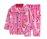 Flannel Kids Pajama Soft Sleepsuit Coral Velvet Sleepwear Nightcloth, Rabbit