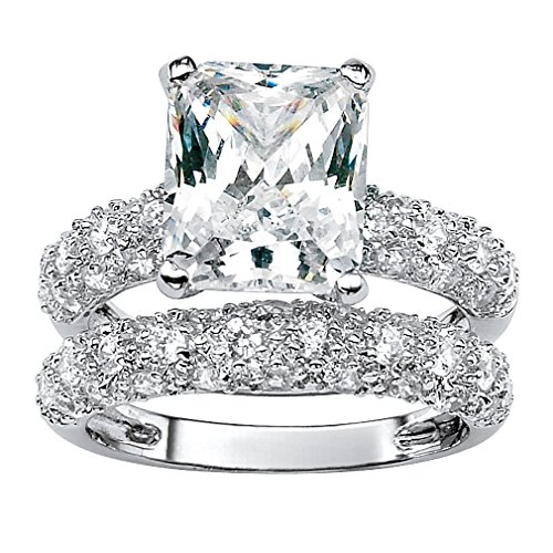 Platinum-plated Emerald Shaped Cubic Zirconia Bridal Ring Set with Round Pave Accents Size 6 (Six Prong Pave Set)