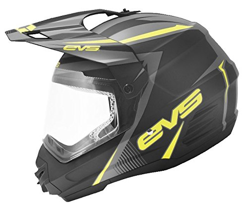 EVS Sports T5 Dual Sport Venture Helmet (Matte Black/Hi-Viz Yellow, X-Large) by EVS Sports (Image #1)