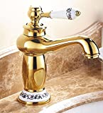 AWXJX The European style buildings copper hot and cold bath sink gold plated Sink mixer