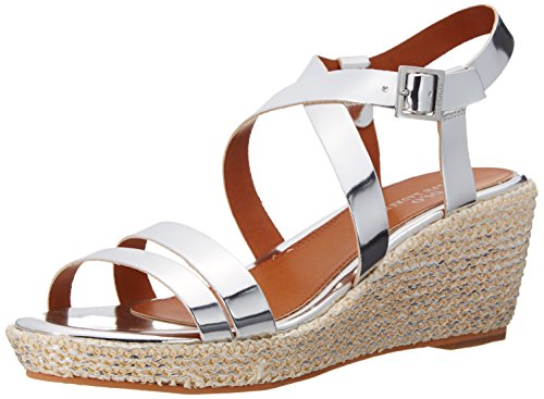 Polo Ralph Lauren Kids Sabrina SLV Specch Metallic Fashion Wedge Sandal (Little Kid/Big Kid), Silver, 7 M US Big Kid