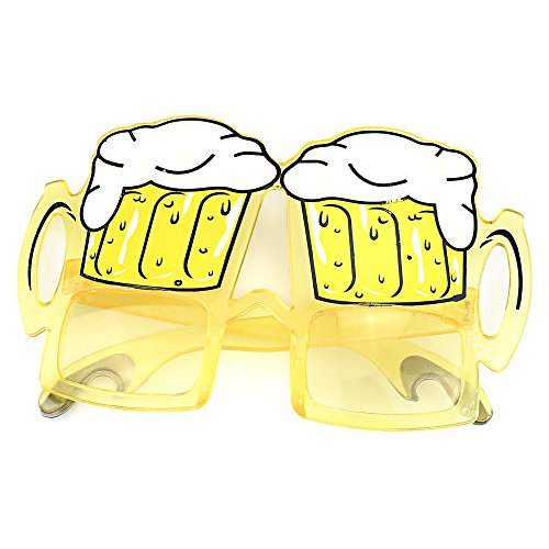 TIJN Unisex Costumes Sunglasses Draft Beer Frame and Tinted Yellow - Beer Costume Glass