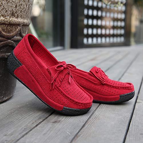 AIMENGA Zapatos Planos Borla Zapatos De Guisantes Suela Gruesa Fondo Plano Antideslizante Mujer Zapatos Sueltos Transpirable Zapatos Muffin gules
