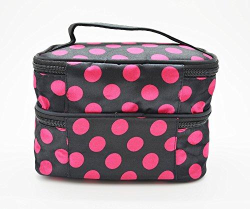 Unique Dots Pattern Double Layer Cosmetic Bag Black