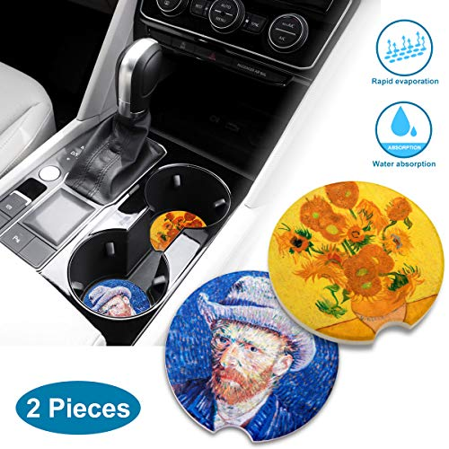 (Car Coasters Cup Holder Coasters Absorbent Stoneware Auto Accessories Ceramic Absorb Stone for Drinks Van Gogh Style 2 pack)